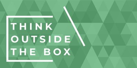 Think outside the box quote on green pattern Image – шаблон для дизайну