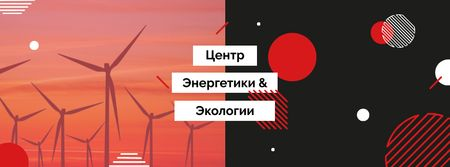 Renewable Energy Wind Turbines Farm Facebook cover – шаблон для дизайна