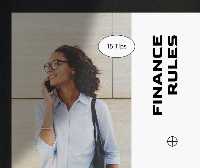Confident Woman with Phone for Finance Rules Facebook Modelo de Design