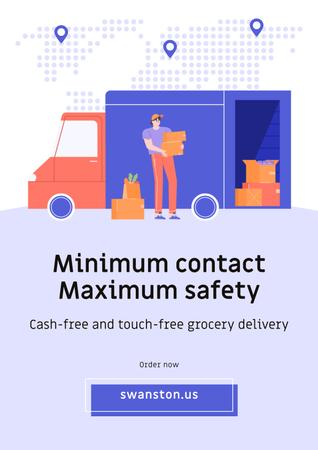 Touch-free Delivery Services offer with courier by car Poster Tasarım Şablonu