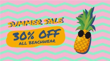 Ontwerpsjabloon van Full HD video van Cartoon pineapple in sunglasses