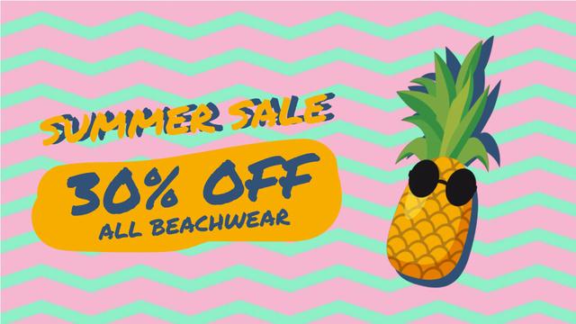 Template di design Cartoon pineapple in sunglasses Full HD video