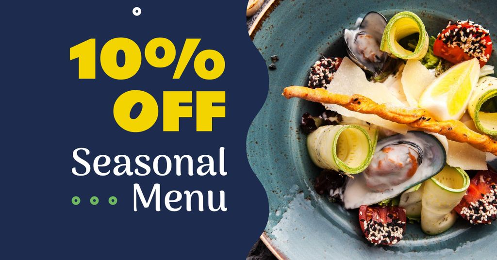 Seasonal Meal with Seafood and Vegetables Facebook AD Modelo de Design