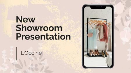 Showroom Presentation Ad with Clothes on Phone Screen FB event cover Modelo de Design