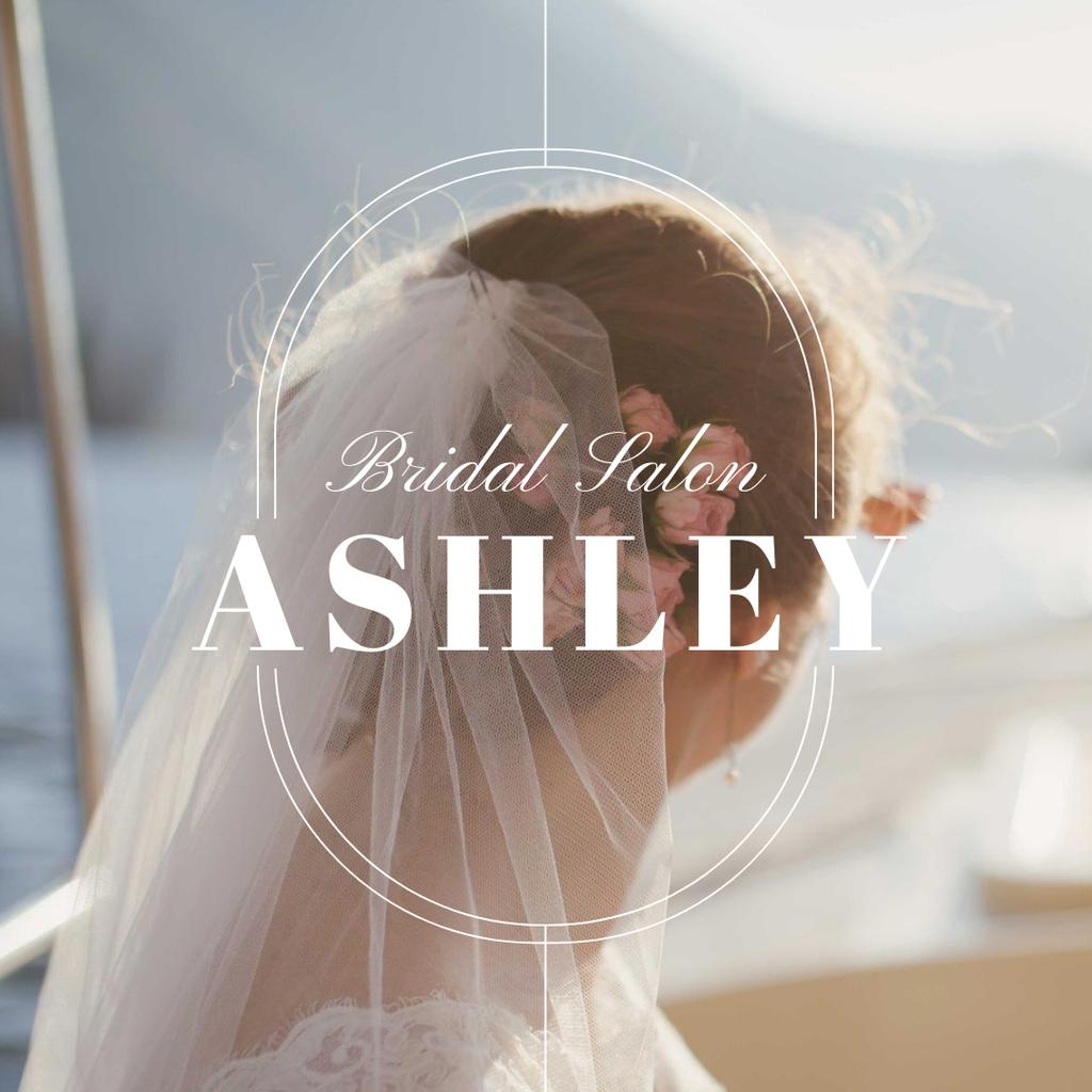 Bridal Salon Ad with Tender Bride in Veil Instagram Design Template