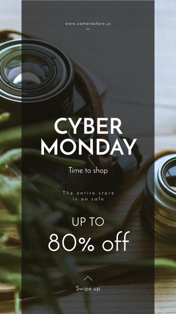 Plantilla de diseño de Cyber Monday Sale Vintage camera with lens Instagram Story