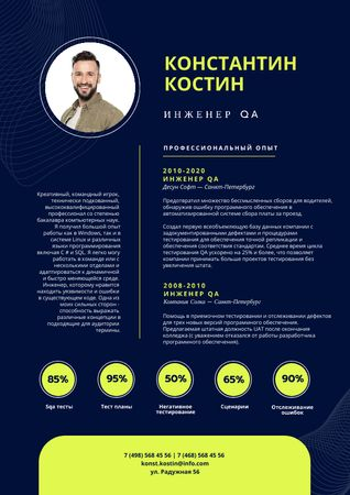 Professional QA Engineer profile Resume – шаблон для дизайна