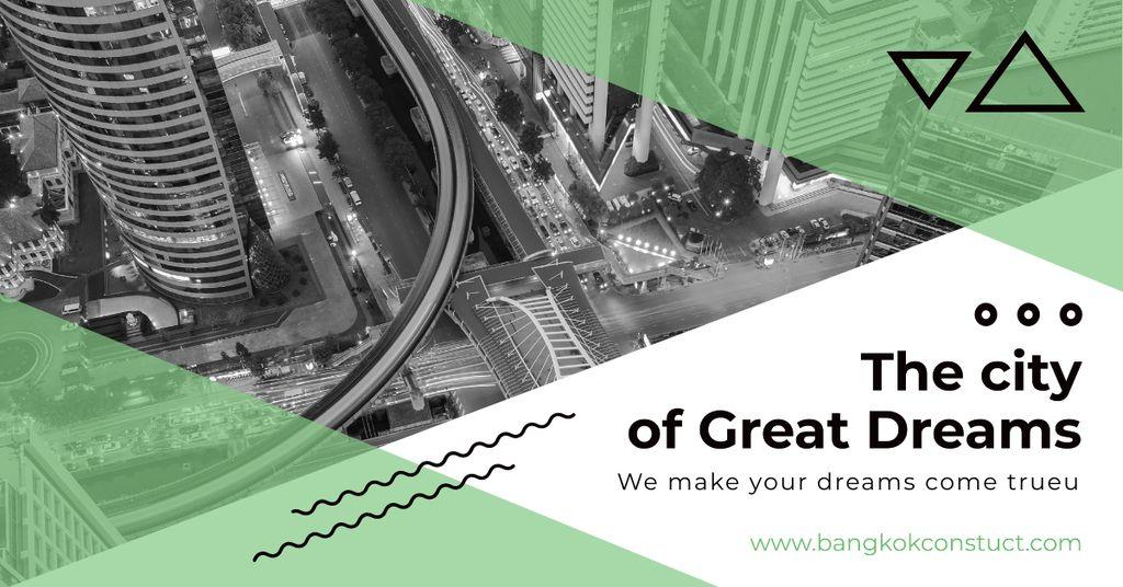 Modèle de visuel City View on Black and White - Facebook AD