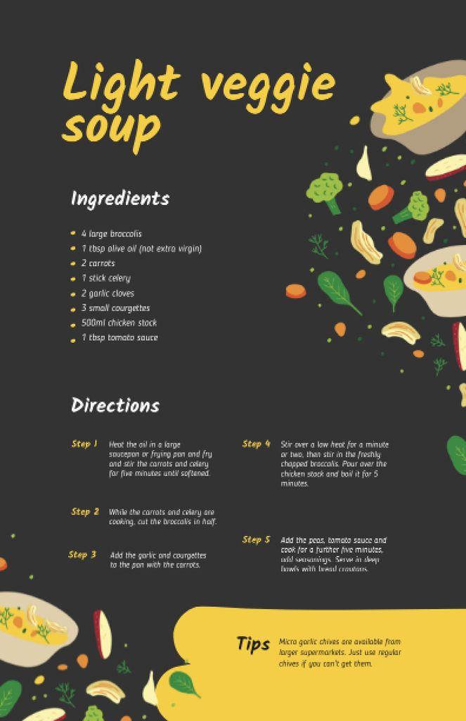 Plantilla de diseño de Light Veggie Soup with Ingredients Recipe Card
