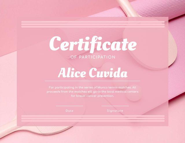 Modèle de visuel Tennis Match participation confirmation in pink - Certificate