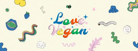 Vegan Lifestyle Concept with bright pattern Facebook coverデザインテンプレート