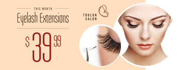 Plantilla de diseño de Eyelash Extensions Offer with Tender Woman Facebook cover