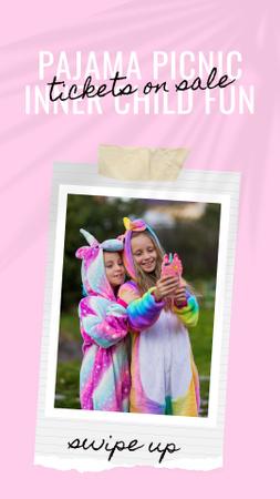 Plantilla de diseño de Cute Little Girls in Funny Pajamas Instagram Story