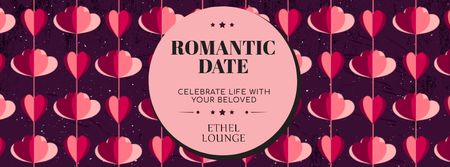 Romantic Date garland with Hearts for Valentine's Day Facebook Video cover – шаблон для дизайна