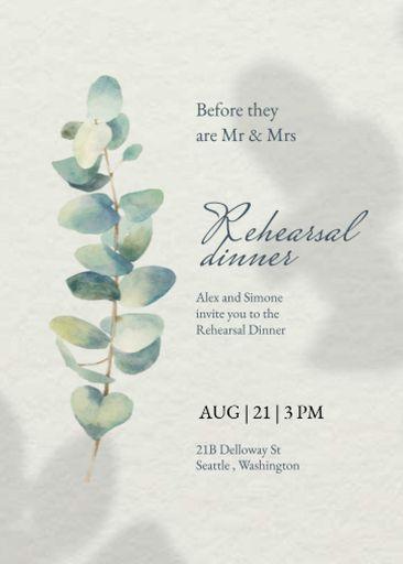 Rehearsal Dinner Announcement With Flower Illustration