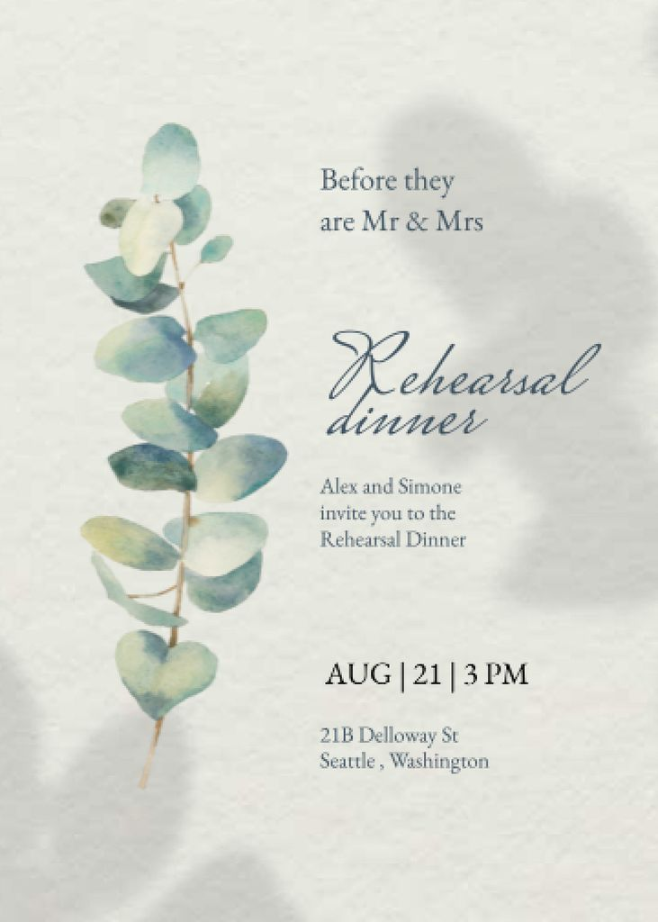 Platilla de diseño Rehearsal Dinner Announcement with Flower Illustration Invitation