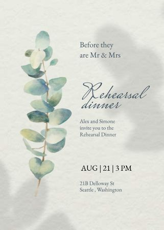 Template di design Rehearsal Dinner Announcement with Flower Illustration Invitation