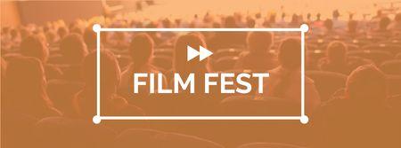 Modèle de visuel Film Festival Announcement with People in Cinema - Facebook cover