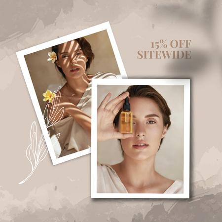 Smiling Girl with skin Oil Instagram AD – шаблон для дизайну