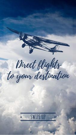 Designvorlage Plane flying in blue sky for Airlines promotion für Instagram Story