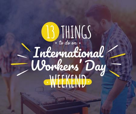 Friends celebrating International Workers Day Facebook Design Template