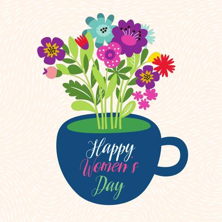 Bouquet of flowers in cup on Women's Day Animated Postデザインテンプレート