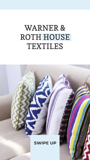 Modèle de visuel Home Textiles Offer with Bright Pillows - Instagram Story