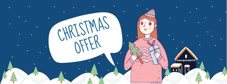 Plantilla de diseño de Christmas Offer with Girl holding Gifts Facebook cover