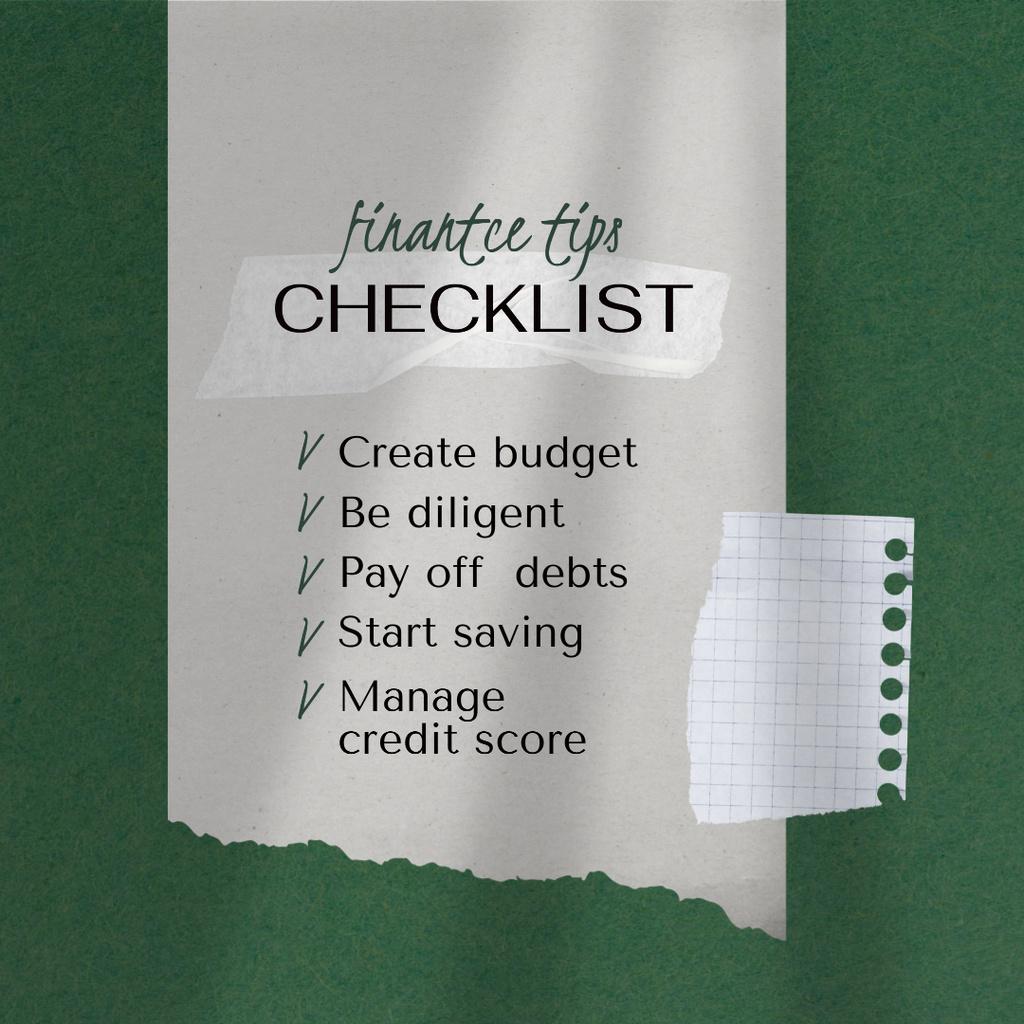 Checklist with Finance Tips Instagramデザインテンプレート