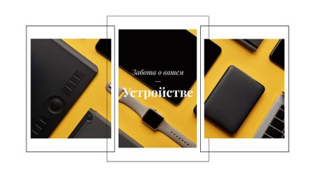Smart Watch and Digital Devices in Yellow Full HD video – шаблон для дизайна