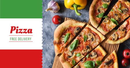Template di design Pizza delivery offer with tasty slices Facebook AD
