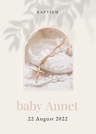 Designvorlage Baptism Announcement with Baby Shoes and Cross für Invitation