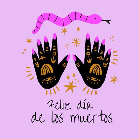 Dia de los Muertos Celebration with Painted Hands Instagram – шаблон для дизайну