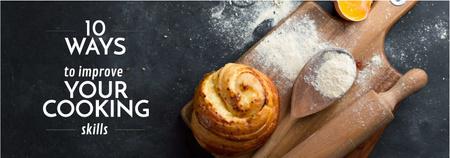 Cooking Tips Bun on Wooden Board with Flour Tumblr – шаблон для дизайну