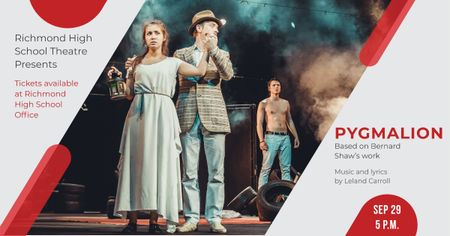 Plantilla de diseño de Pygmalion performance with Actors on Theatre Stage Facebook AD