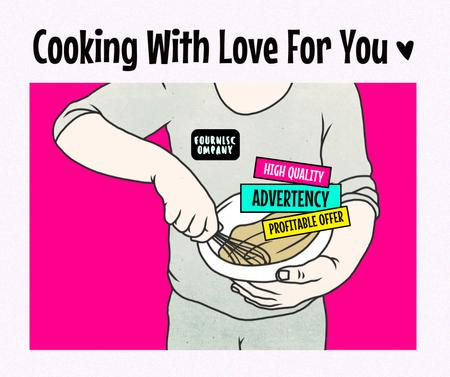 Illustration of Man cooking Facebook – шаблон для дизайна