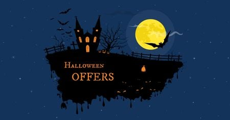 Ontwerpsjabloon van Facebook AD van Halloween Offer with Night Scary Castle