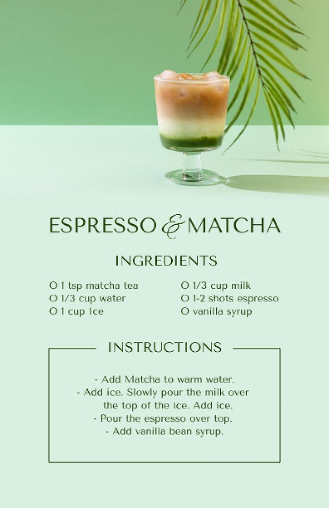Espresso and Matcha Cooking Steps Recipe Cardデザインテンプレート