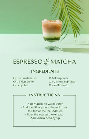 Ontwerpsjabloon van Recipe Card van Espresso and Matcha Cooking Steps