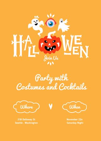 Halloween Party Announcement with Pumpkin and Ghosts Invitation – шаблон для дизайна