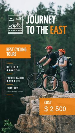 Cycling Tour Offer with Couple admiring Mountains Instagram Story – шаблон для дизайна