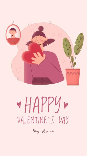 Plantilla de diseño de Girl holding Heart on Valentine's Day Instagram Video Story