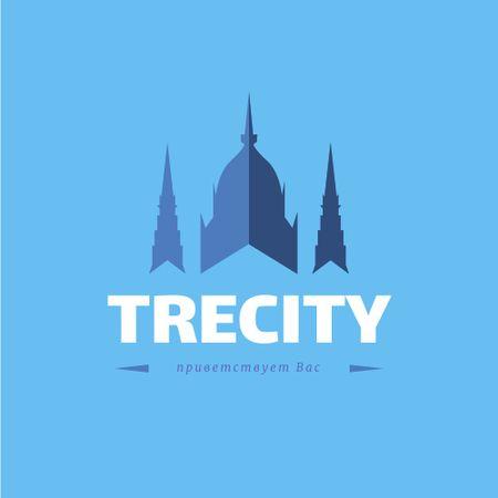 Old City Building Icon in Blue Logo – шаблон для дизайна