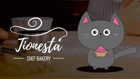Designvorlage Bakery Offer Cute Cat with Cupcake für Full HD video