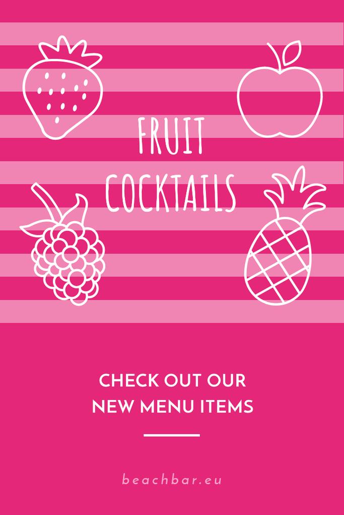 Ontwerpsjabloon van Pinterest van Fruit Cocktails Offer in Pink