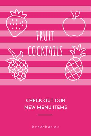 Fruit Cocktails Offer in Pink Pinterest – шаблон для дизайну