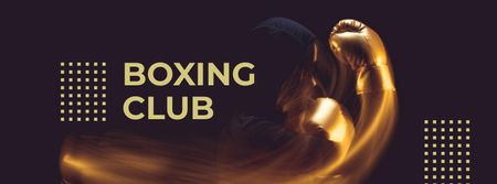Boxing Club Ad with Boxer in gloves Facebook cover Modelo de Design