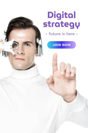Designvorlage Digital Strategy Ad with Human and Robot Hands für Pinterest