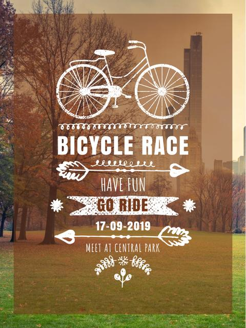 Bicycle race announcement in Park Poster US – шаблон для дизайна