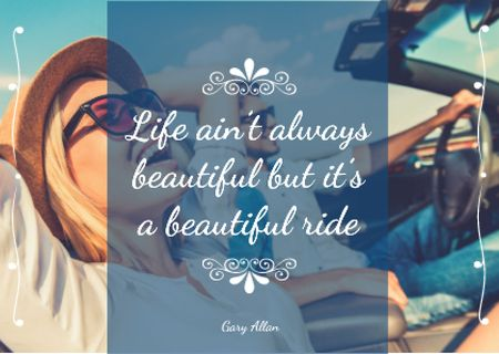 Motivational quote with Couple in Car Card Modelo de Design